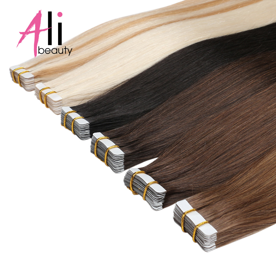 ALI BEAUTY Tape In Human Hair Extensions Machine Remy Straight On Adhesive Invisible PU Weft Platinum