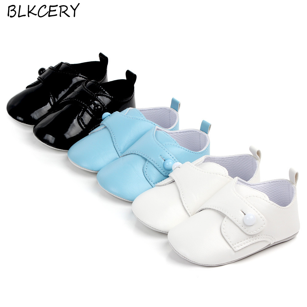 Newborn Baby Boy Shoes Toddler Leather Moccasins First Walker Casual Buttons Loafers Infant Solid Shoes For Learning Walking