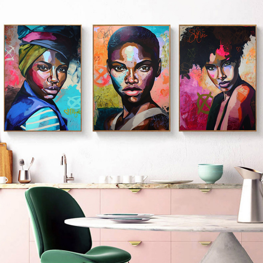 Woman Portrait Wall Art Canvas Print Abstract Multi African Girl Canvas Paintings for Office Room Home Wall Decor Drop Shipping