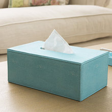 European style creative simple tissue box PU Leather home living room tray Tissue