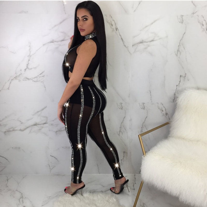 And Pants Glitter Women Piece Transparent Clothing 2 Two Sexy Set Size Suit Top Black Plus Sequin Bodycon Cropped Mesh PrvwPHgq