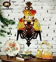 Makenier Винтажный стиль Тиффани витраж двойной попугаи Роза тени Большой Настенный светильник