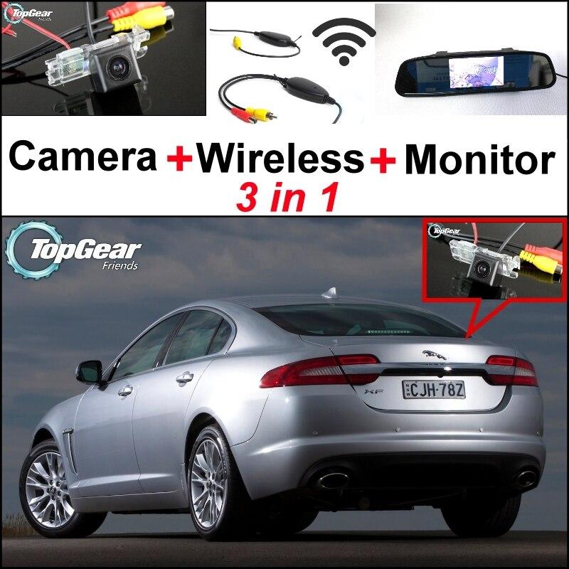 3 in1 caméra de vue arrière spéciale + récepteur sans fil + moniteur miroir facile bricolage système de stationnement de secours pour Jaguar XJ X351