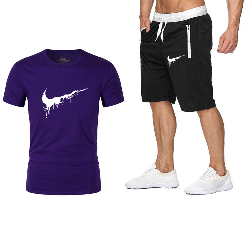 Summer New Hot Sale Sportsuits Set Men's Setsshorts +T Shirts Two Pieces Sets Casual Tracksuit Male Tshirt Street Clothing