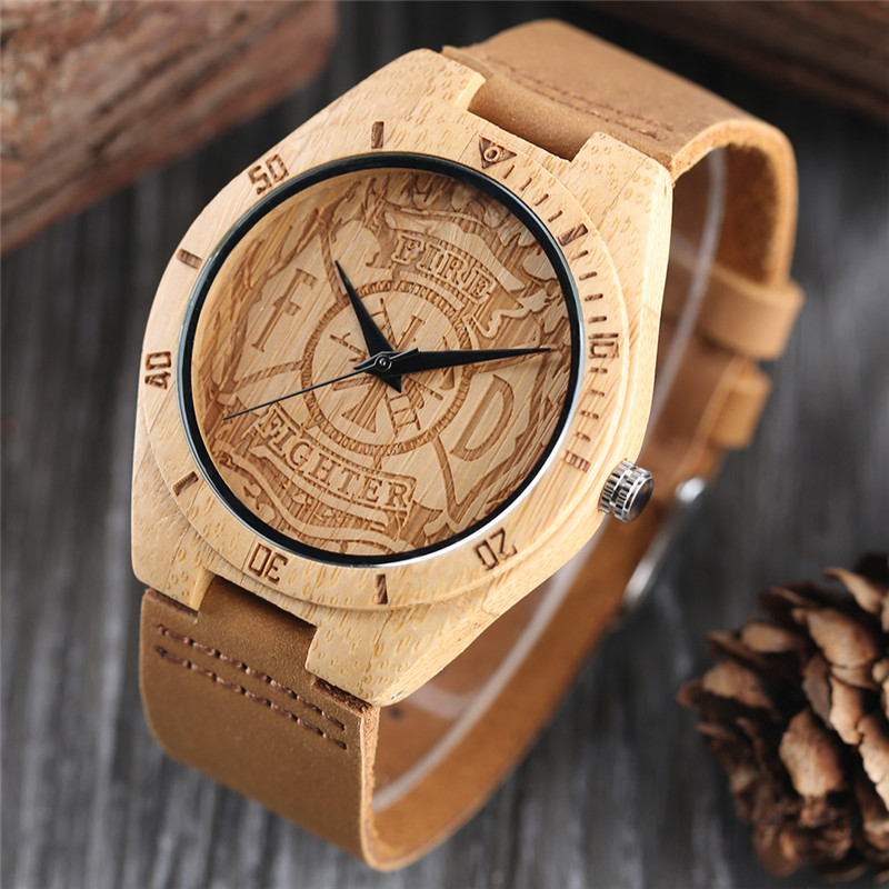 Creative Bamboo Wooden Wrist Watch Men Fire Fighter Handmade Nature Wood Watches Novel Bangle Genuine Leather Band Clock Gift simple brown bamboo full wooden adjustable band strap analog wrist watch bangle minimalist new arrival hot women men nature wood