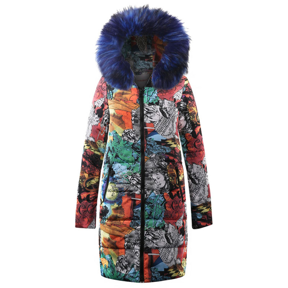 CHAMSGEND 2018 Coat Female Women's Printed Long Cotton Clothing Womens Winter   Parka   Hooded Coat Quilted Jacket Outwear Oc12