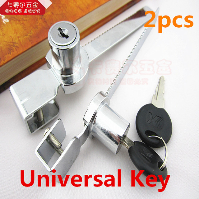 2pcs Universal Key Type Sliding Glass Cabinet Door Lock Vitrine Lock