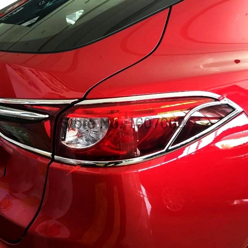 For Mazda CX-4 CX4 6pcs Chrome Car Exterior Rear Tail Light Lamp Bezel Cover Molding Trim Protector Decorative Accessories