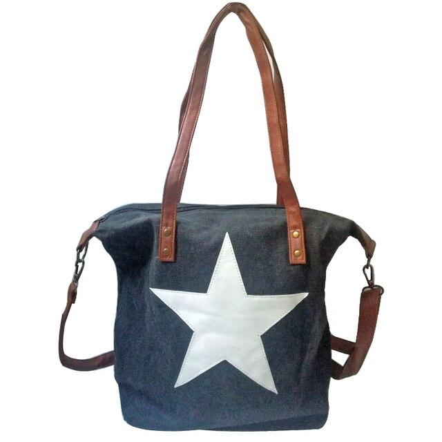 Star Liques Women Canvas Large Beach Bag Men Casual Multifunctional Crossbody Tote Handbag Shoulder