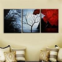 Gift Moderne Abstracte Schilderen Dode Bomen in een Rode en wit Cumulus Cloud Muur Decor Landschap Schilderen op Canvas 12x16 inch 3 stks
