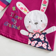 Lovely Rabbit Printed Long-Sleeved Cotton Baby Girl's T-Shirt