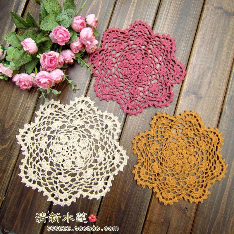 5 pçs/lote Handmade 20 cm Rodada flor Do Laço Doilies Crochet Coaster Lugar Da Tabela esteiras Crochet copo mat