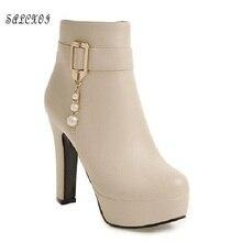 SALCXO winter boots women platform boots ankle boots for women high heel plus size 42 43