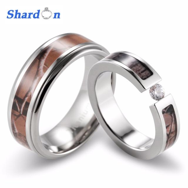 SHARDON Coupleu0027s Brown Camo Engagement Wedding Ring Set Titanium Camouflage  Outdoor Wedding Band Set 2pcs