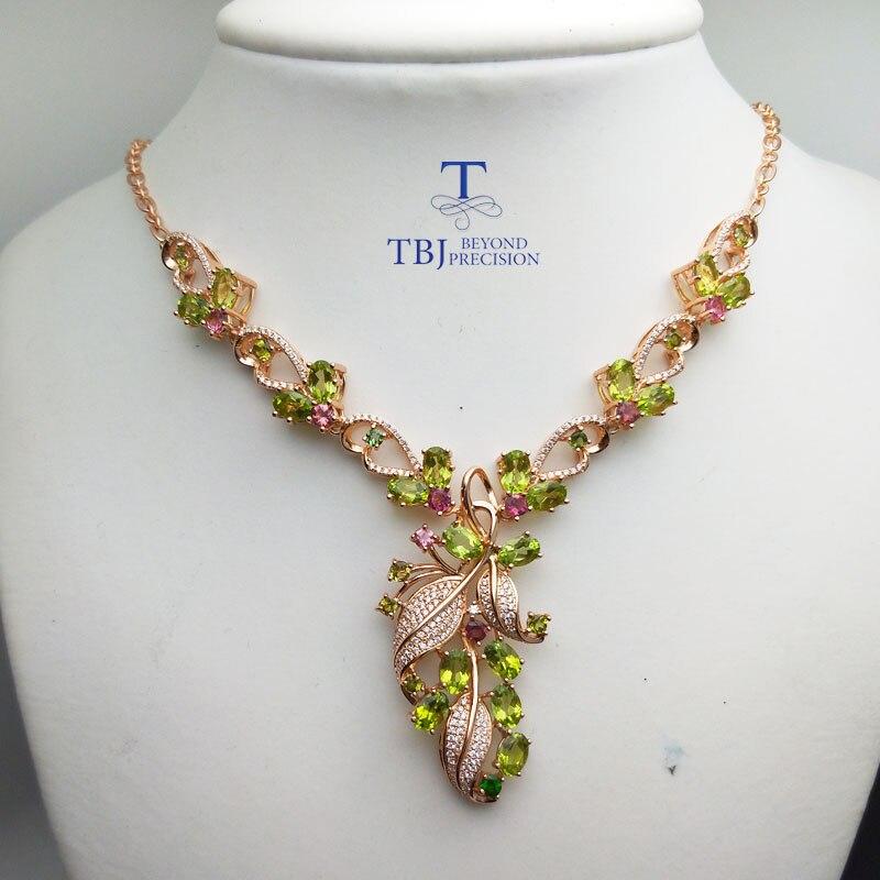 TBJ, nouveau design de luxe avec péridot naturel collier de pierres précieuses en argent sterling 925 bijoux fins pour dame avec boîte-cadeau - 2