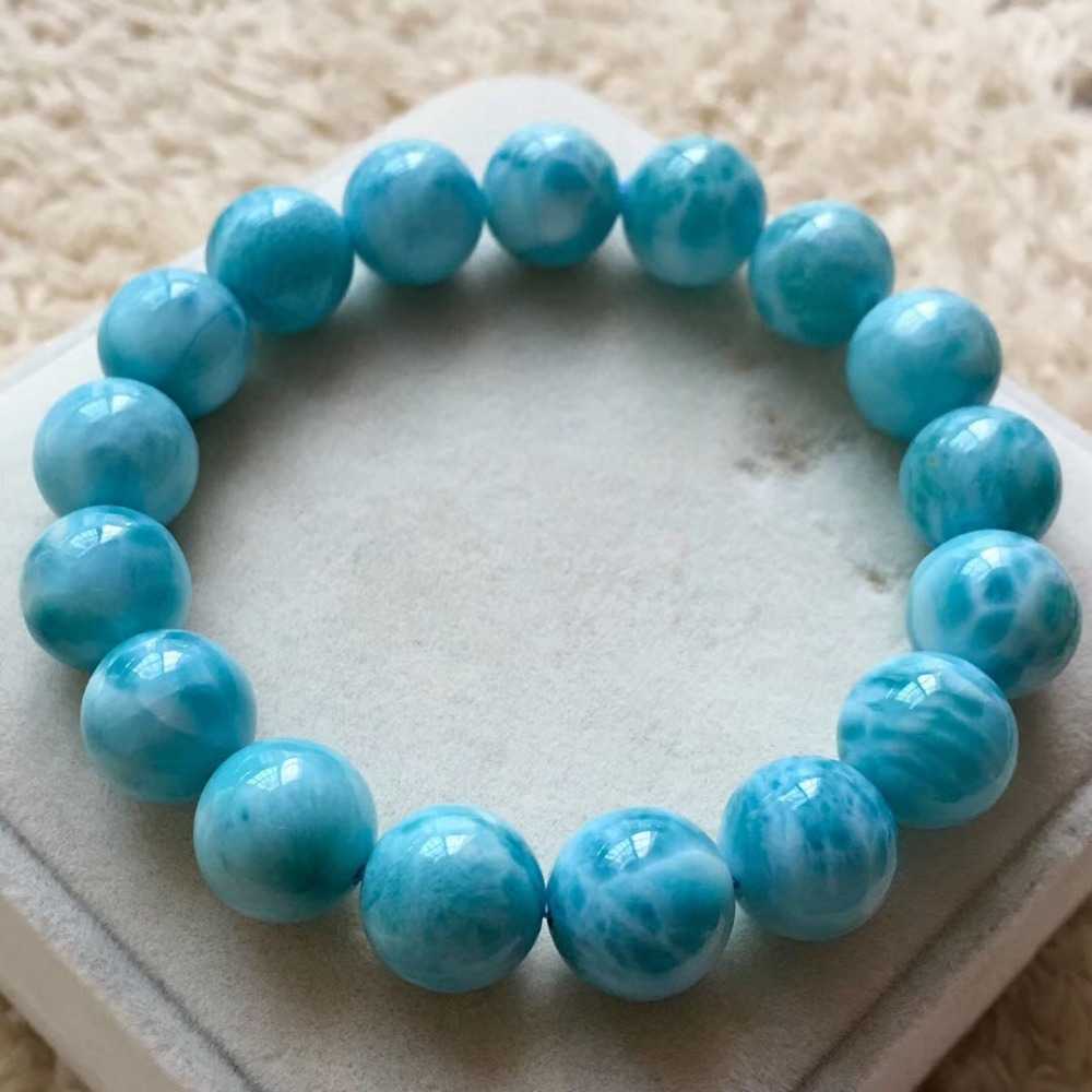 12.1mm Natural Larimar Stone Bracelet Women Men Party Accessories Gift Powerful Stretch Round Beads Crystal Bracelet Jewelry12.1mm Natural Larimar Stone Bracelet Women Men Party Accessories Gift Powerful Stretch Round Beads Crystal Bracelet Jewelry