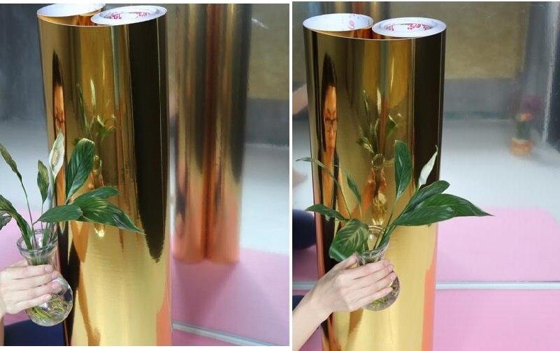 120 cm largeur auto-adhésif effet miroir papier peint argent/or réfléchissant pvc autocollants film de meubles