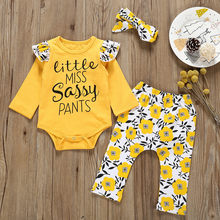 Kid Toddler Infant Boy Girl Baby Clothing Set Letter Romper + Print Pants + Hairband Outfits Set Newborn Baby Clothes MuqGew(China)