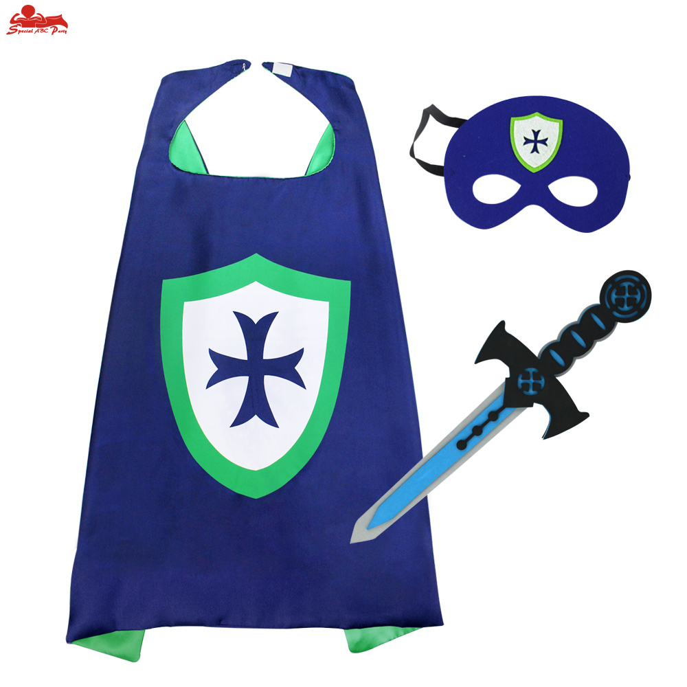 SPECIAL 70*70 cm Knight Cape Mask Sword Costumes Cosplay Toys Kids EVA Elastic Sword Hero Warrior Arms Gifts Knight Toys