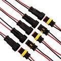 5 pçs/lote 2 Pin Way Impermeável Conector Elétrico Plug Adapter W/AWG Fio para Car Veículos Motos