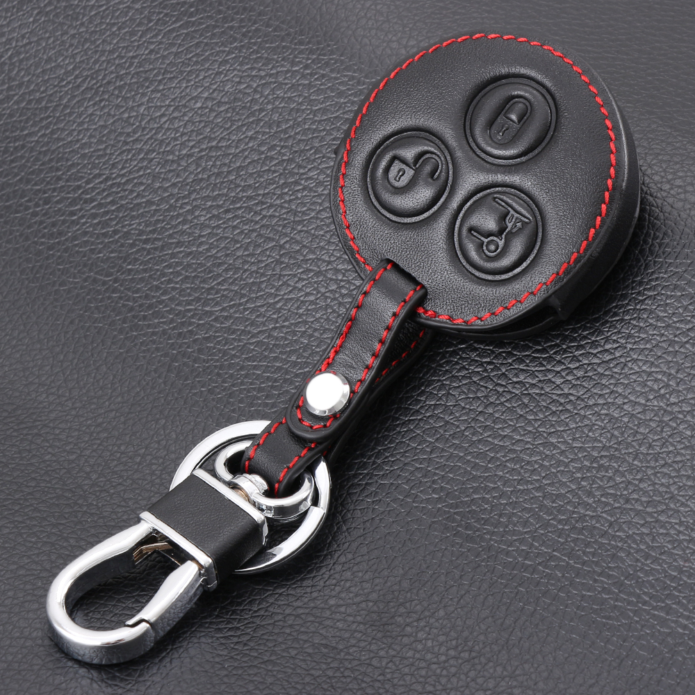 Genuine leather car keychain key fob case cover wallet for for Mercedes benz key fob