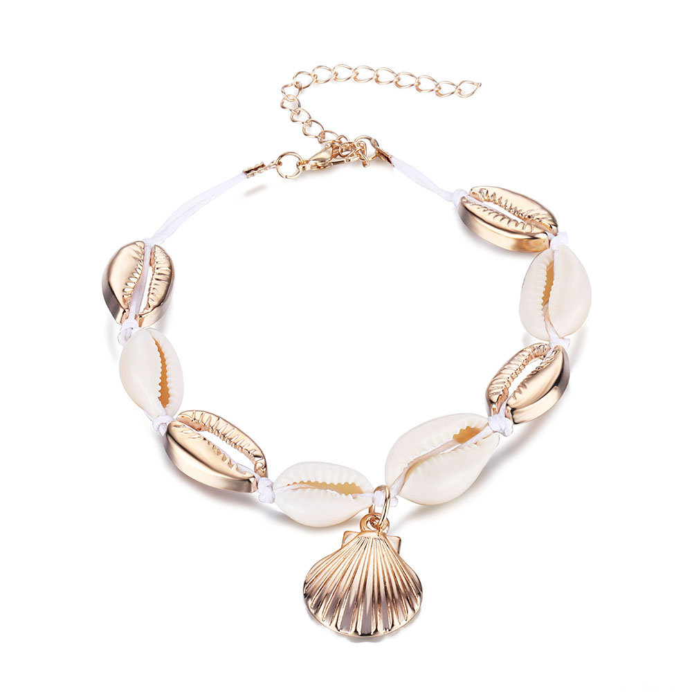 Gold Color Anklet Women Shell Sequins Beads Geometric Bracelet Charm Bohemian Anklets Jewelry