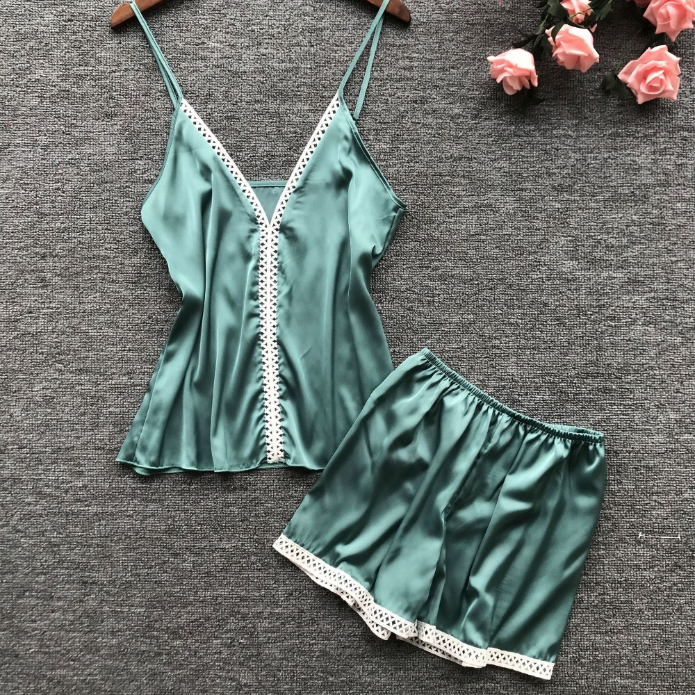 Herislim Lace Trim Silk Cami Shorts Pajamas Set Women Plain Spaghetti Strap Sleeveless Sexy 2019 Summer Sleepwear Home Clothes in Pajama Sets from Underwear Sleepwears