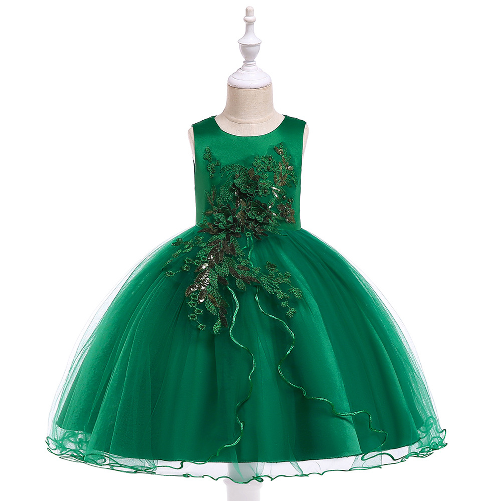 Promtion Green Little   Girls   First Communion For Evening Party Appliques   Flower     Girl     Dresses   Gowns Tulle Kids   Girl   Wear Gowns
