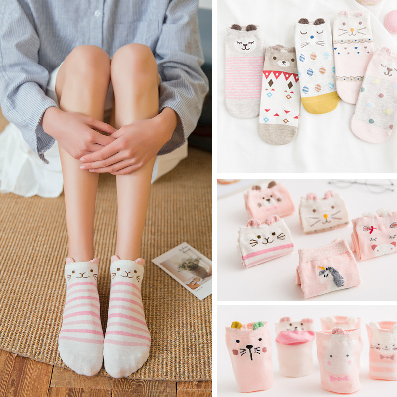 5 pairs / pack Ladies' 3D Wistiti Animal Ears Ankle   Socks   Comfortable Lovely Cartoon Women's Cotton Boat   Socks   Cute Bobbysocks