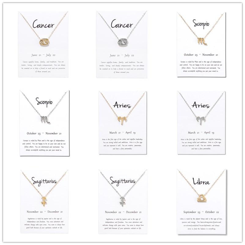 Подарки на день рождения 12 Созвездие зодиака кулон ожерелье с белой картой