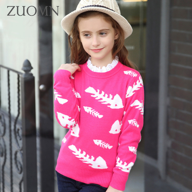 New Autumn Girls Knitted Sweater For Girls Winter Pullover Cardigan Kids Cotton Clothes Child Knitting Fashion Design Coat GH192