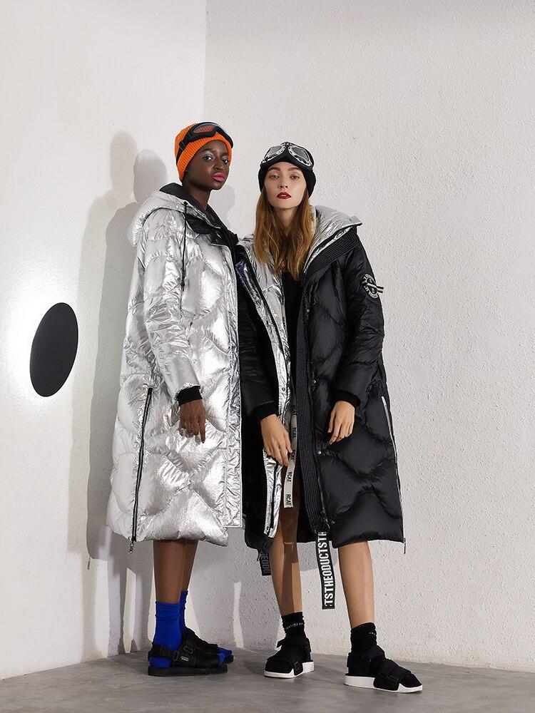 Doudoune Lâche Brillant Argent Bas En Long De Noir 2018 Femme Métal Nouveau Le Hiver Rue Vers Designer Manteau Mode gqxAvHxPz