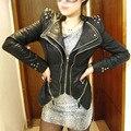 Новый 2015 Осень Зима Женская Мода Черный PU Искусственной Кожи Тонкий Шипованные Куртки Двойная Молния Воротник Ласточкин Хвост Куртка D156