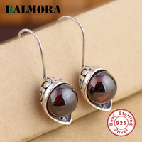 BALMORA Female Retro Jewelry 100 Real Pure 925 Sterling Silver Earrings For Women Lover Party Wedding