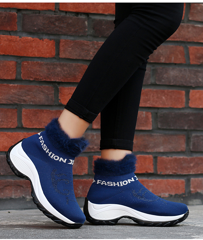 STS BRAND 2019 New Winter Ankle Boots Women Snow Boots Warm Plush Platform Sneakers Breathable Mesh Sneakers Travel Casual Shoes (23)