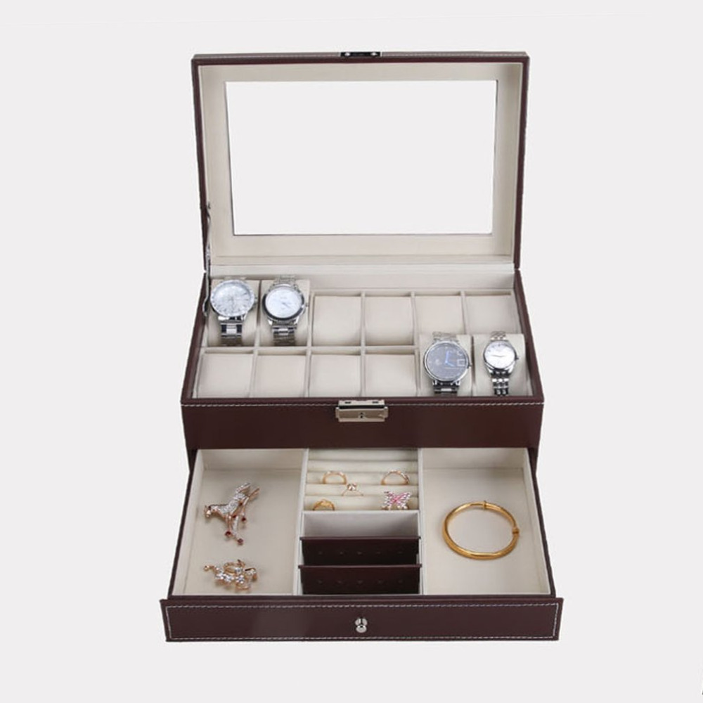 12 Grids Slots PU Leather Watch Case Organizer Box Professional Watches Storage Box Double Layers Holder watches box caja reloj