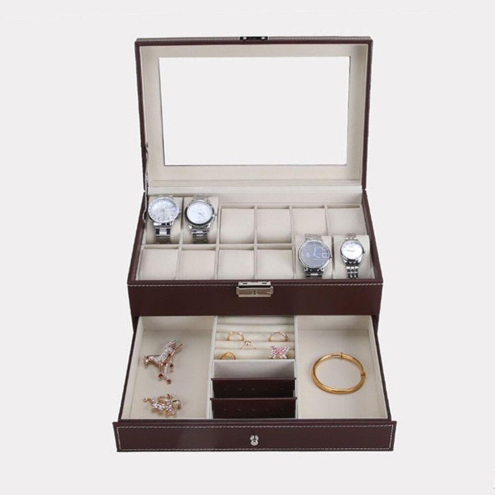 12 grilles fentes PU cuir montre boîtier organisateur boîte montres professionnelles boîte de rangement Double couches titulaire montres boîte caja reloj
