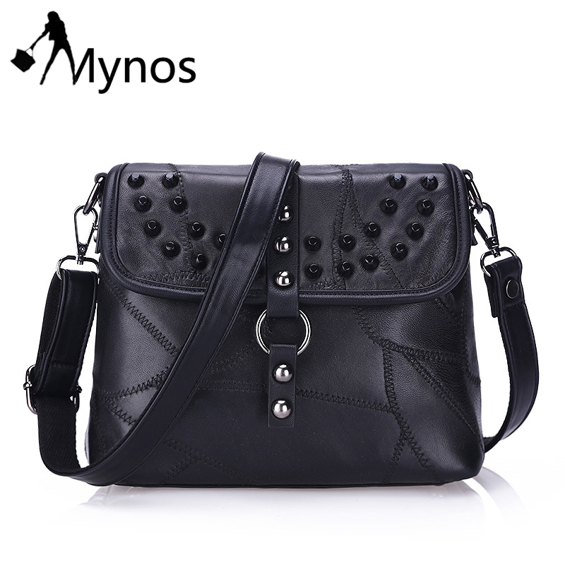 Mynos Genuine Leather Rivet Women Messenger Bag Crossbody Bag Ladies Retro Messenger Bag Shoulder Bag Sac
