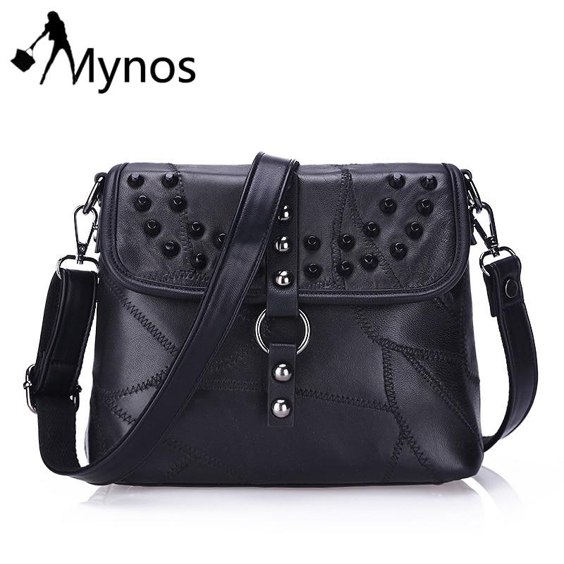 Mynos Genuine Leather Rivet Women Messenger Bag Crossbody Bag Ladies Retro Messe