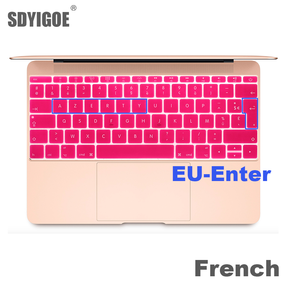 French keyboard protector For macbook retina 12 pro13 EU-Enter A1708 A1534 A1931 keyboard cover laptop accessories laptop film