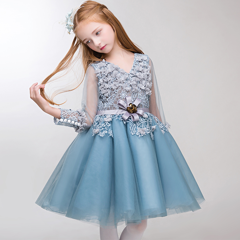 2018 High-grade New Ball Gown Flower Wedding Girls Dresses Kids Baby V-neck Appliques Lace Elegant Party First Communion Dress 2018 purple v neck bow pearls flower lace baby girls dresses for wedding beading sash first communion dress girl prom party gown