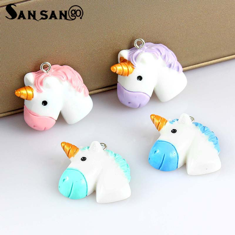 10pcs Mixed Colorful Cartoon Cute Unicorn Horse Charms For DIY Making Rainbow Kawaii Necklace Pendant Keychain Jewelry Gift
