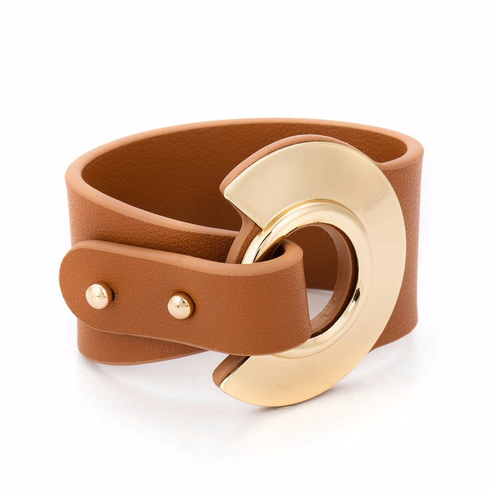 Big Brown Leather Bracelet Gold Color Metal Simple All-Match Wide Leather Bracelets For Women Wristband Adjustable Size