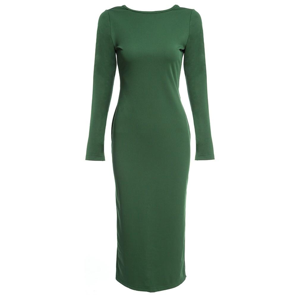 VESTLINDA Plus Size Robe Sexy Femme Midi Sheath Bodycon Dress Long Sleeve Elegant Dresses Women Back Zipper Pencil Tight Dress 16