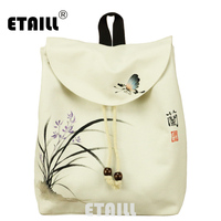 ETAILL Orchid Hand Painted Women Girl Teenager Backpack National Tribal Ethnic School Travel Fashion String Rucksack