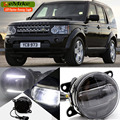 eeMrke Car Styling Led DRL For Land Rover DISCOVERY 4 LR4 2 in 1 LED Fog Lights Lamp With Q5 Lens Daytime Running Lights