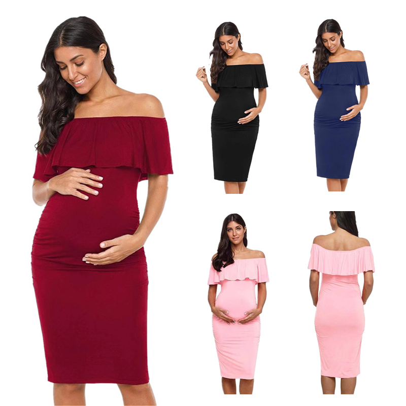 Maternity Dresses Summer Women Sexy Ruffled Shoulderless  Bandage Pregnancy Dress for Pregnant Solid Clothing