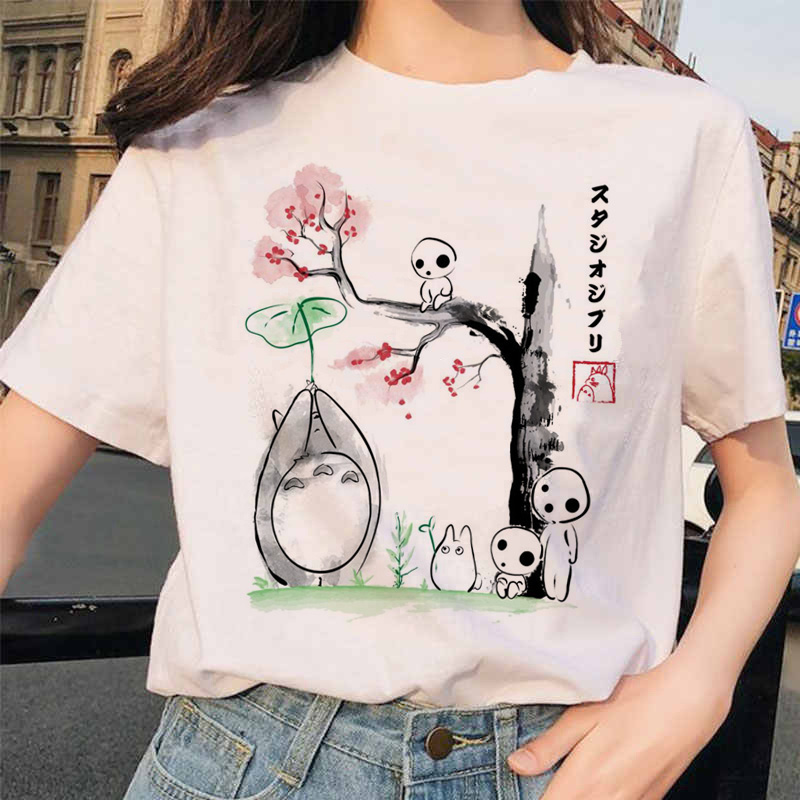 totoro Spirited Away Studio Ghibli femme   t     shirt   Japanese women ulzzang tshirt Anime Miyazaki Hayao female   t  -  shirt   harajuku 90s
