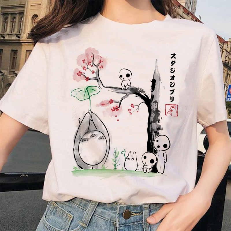 Totoro Spirited Away Studio Ghibli Femme T Shirt Japanese Women Ulzzang Tshirt Anime Miyazaki Hayao Female T-shirt Harajuku 90s