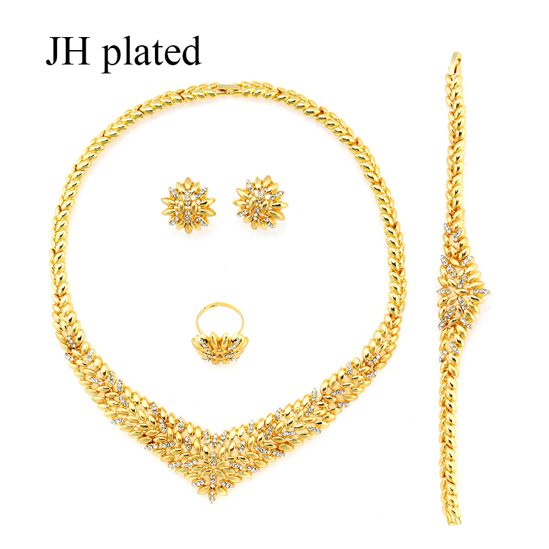JHplated New Dubai Jewelry Sets Necklace / Bracelet / Earrings  Ethiopia  Eritrea  Arab Women Wedding Gifts African fashion